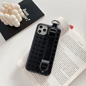 Black Leather iPhone Case w/ Finger Loop